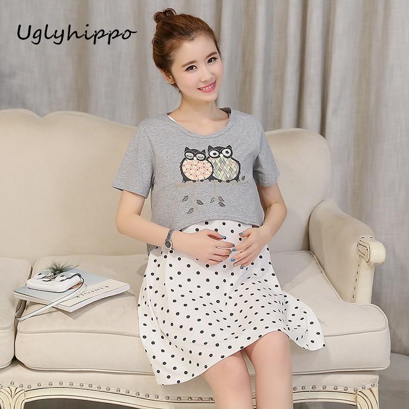 Летний костюм из двух предметов для беременных и кормящих платья для кормления одежда беременности грудного вскармливания одежда MO47