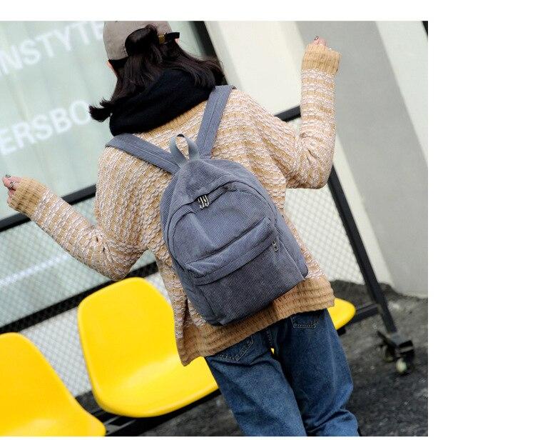 HTB1ZKeCbUCF3KVjSZJnq6znHFXa8 2019 New Corduroy Women Backpack Pure Color Women Travel Bag Fashion Double Backpack Female Mochila Bagpack Pack Design