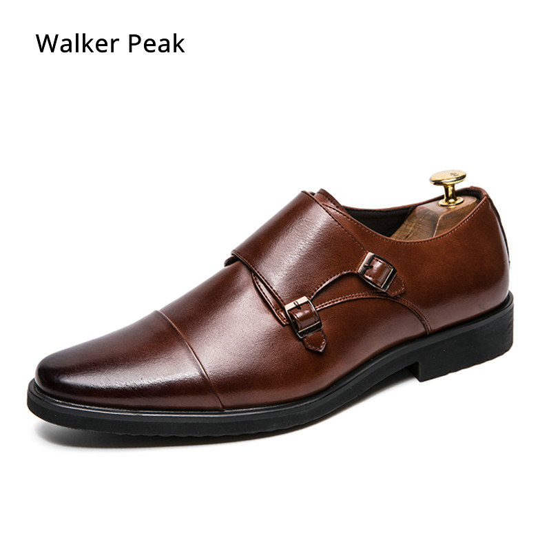 Men's Double Monk Strap Shoes Oxford Leather Mens Square Toe Classic Dress Shoes Casual Comfortable Gradual Color Loafer Brand