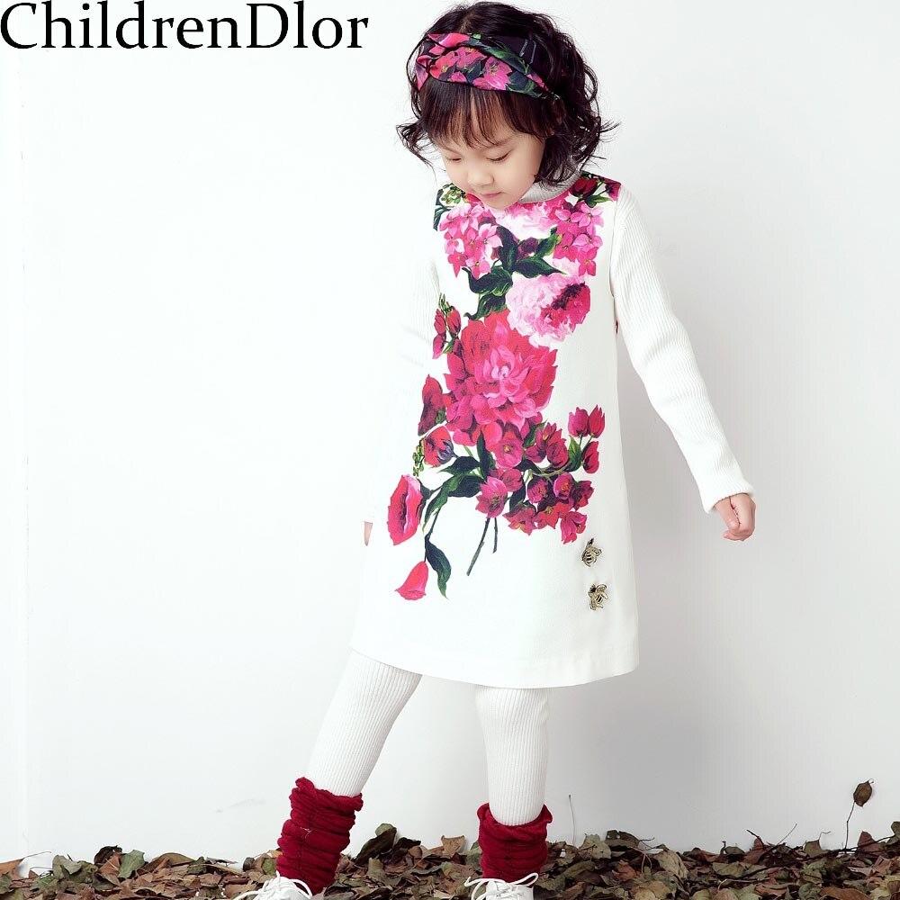 Girls Dresses Winter Flowers Princess Dress Costumes for Kids Clothes 2017 Casual Sleeveless Children Dress Disfraz Princesa
