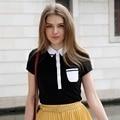 Вери güde летний стиль футболки женщин опрятный стиль свободного покроя лоскутное