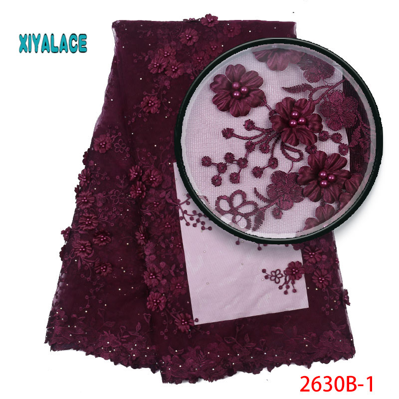 French Lace Fabric Nigerian Newest Embroidery With Stones 3D Flower Beaded African Tulle Lace For Wedding Party Dress YA2630B-1