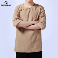 SHANBAO brand high quality linen men's long sleeved T shirt Chinese wind button 2019 autumn casual loose round neck T shirt