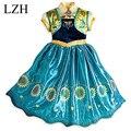 LZH 2015 Nuevo Bebé Muchachas Atan el Vestido de Partido de Los Niños Vestidos de princesa Kids Traje Casual Túnica Vestido de Partido de Las Muchachas de Impresión vestido
