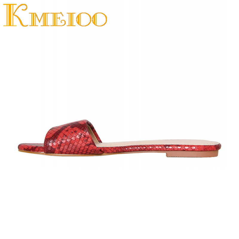 Kmeioo 2018 Woman Shoes Fashion Slipper S Slides Casual Ladies Shoes Plus Size 35 46