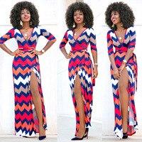 נשים שמלות מקסי ארוך שמלה פרחונית קיץ נשים הלבשה נד לפצל שרוול פס גל עממית אפריקאית סגנון Vestiti דונה
