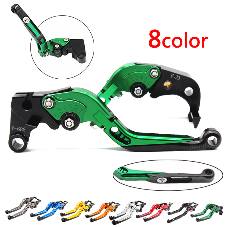 ФОТО CNC Aluminum Adjustable Folding Motorcycle Brake Clutch Levers For Kawasaki Z1000 2007-2013 ZX6R Z750R Brake Lever K-828/F-88