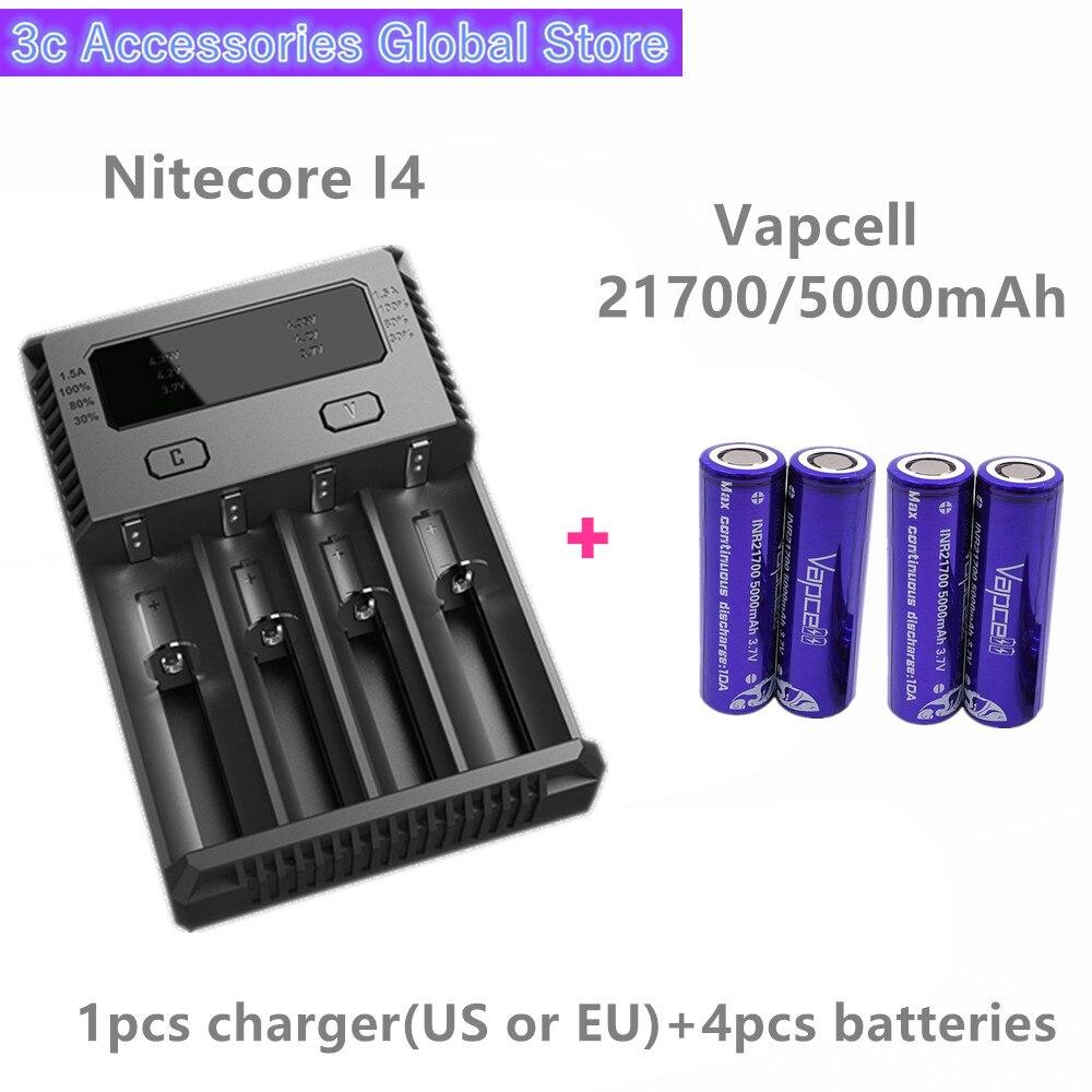 Vapcell 4 pièces INR 21700 5000 mAh 10A li-ion batterie rechargeable avec Nitecore nouveau I4 Digi chargeur LCD Intelligent pour fumée E-CIG