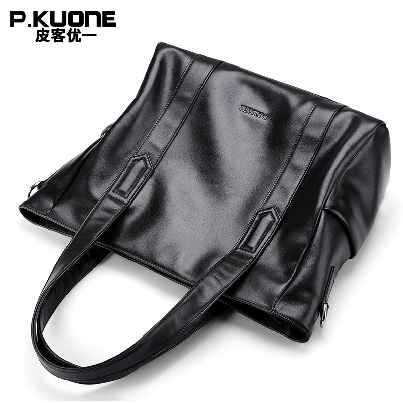 Men Genuine Leather Briefcases  Man Bags Business Laptop Tote Bag Men's Crossbody Shoulder Bag Travel Bags Brown P630912 yishen genuine leather bag men bag cowhide men crossbody bags men s travel shoulder bags tote laptop briefcases handbags bfl 048
