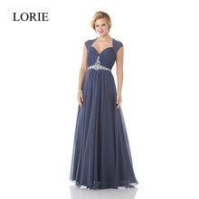 A Line Grey Chffion Mother Of The Bride Dresses Plus Size Empire Waist Beaded Sexy Women Long Evening Dress Formal Wedding Party