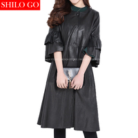 Plus Size Fashion Women High Quality Sheep Skin Luxury Cascade Butterfly Sleeve Button Black Genuine Leather
