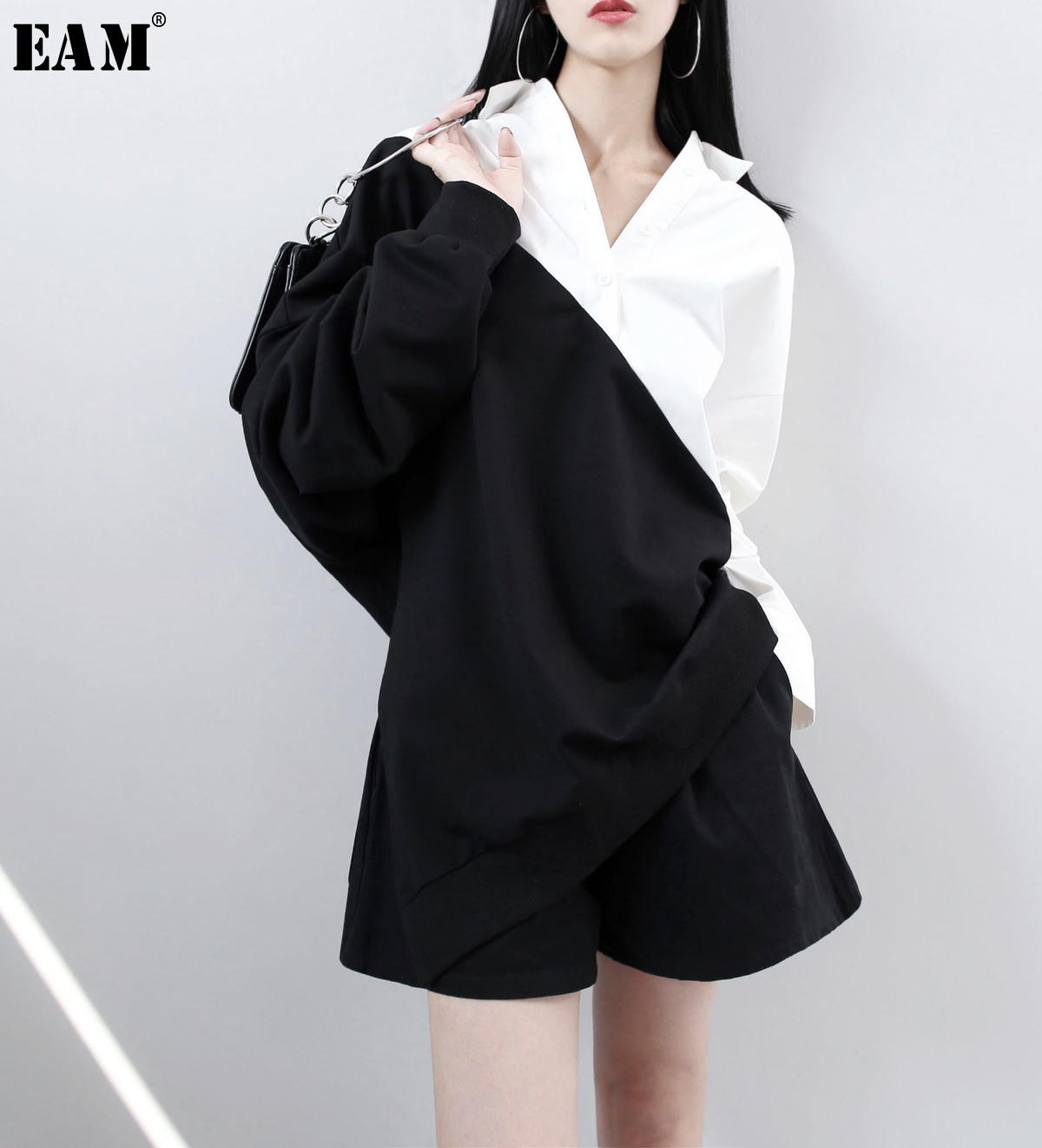 [EAM] 2019 Spring Lapel Long Sleeve Solid Color Black White Split Joint Loose Big Size Sweatshirt Women Fahion Tide JC319