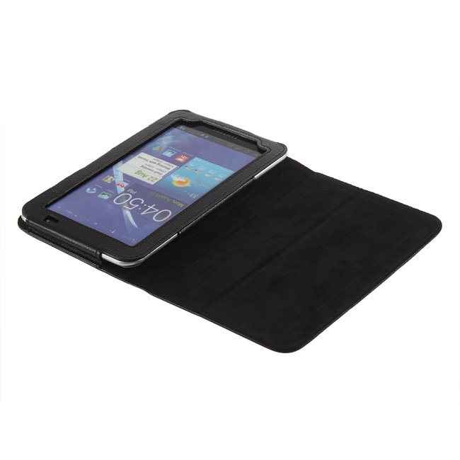 2015 Hot High Quality Black Leather Cover Folding Case for Samsung For Galaxy Tab GT P1000 Newest