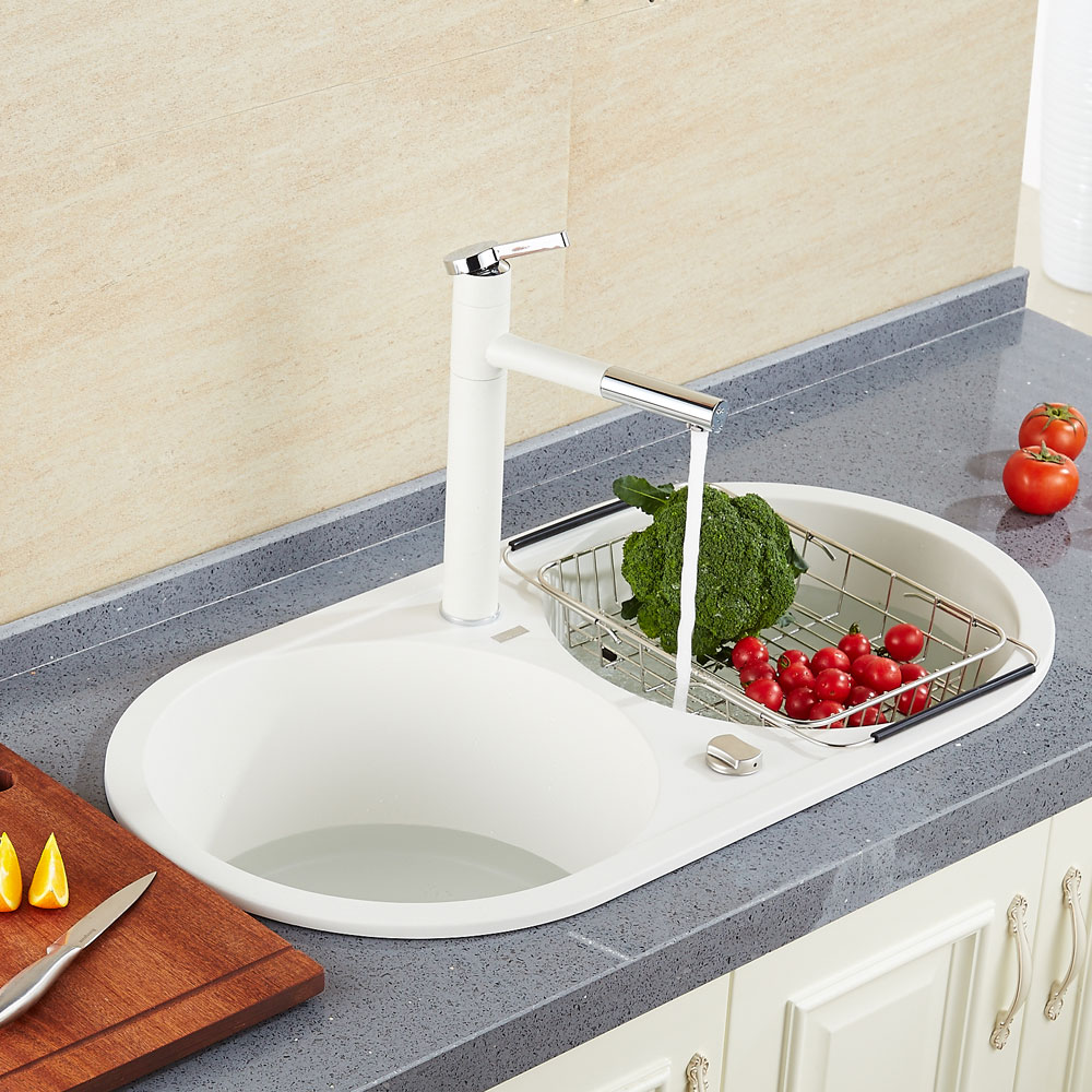 High Quality White pull out Single handle basin Waterfall Brass ...