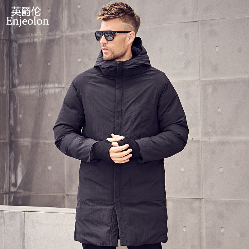 Enjeolon Brand Winter Cotton Padded Hooded Long Jacket Men Thick Hoodies   Parka   Coat Male Quilted Jacket Coat Plus Size MF0629