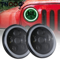 TNOOG 2PCS For Lada 7inch White DRL RGB Halo LED Headlight Angel Eyes Bluetooth APP Control
