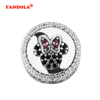 Fits Pandora Bracelets Mouse Icon Charm Beads with Cubic Zircon Authentic 925 Sterling Silver Charms DIY Jewelry Wholesale FL463