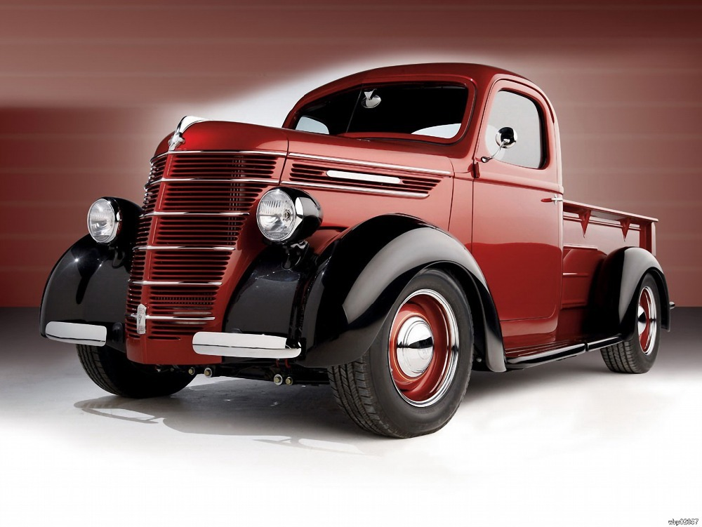 Retro Old Pickup Truck Red Shiny Car Art Huge Print Poster TXHOME ...
