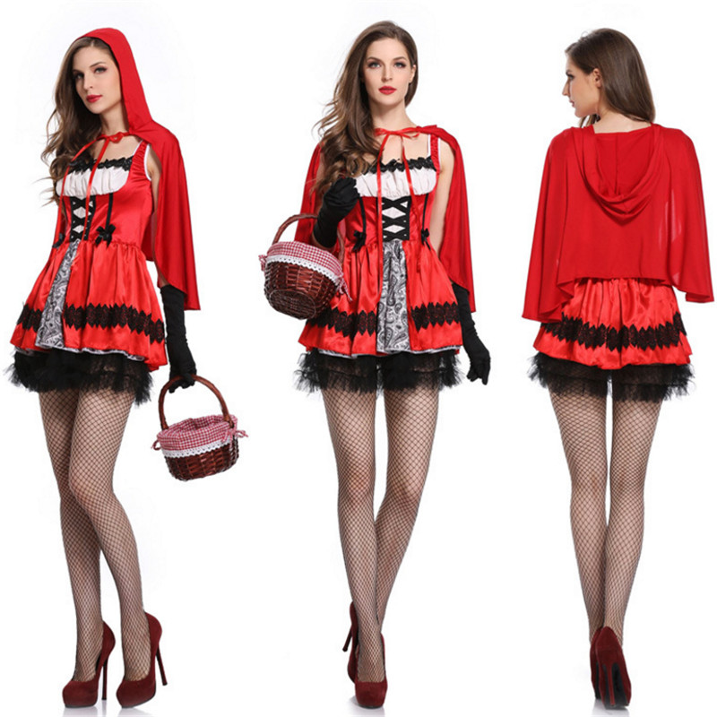 sexy Little Red Riding Hood Costumes For Women Fantasia Halloween Party adult Small Red Cap Cosplay Fancy Dress+Cloak Costume