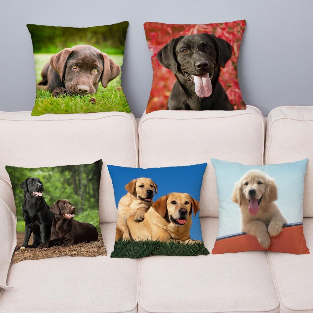 Cute Labrador Retriever Dog Print Pillow Cover 45*45 Cushion Cover Super Soft Plush Throw Pillow Case Home Decor Pillows Covers