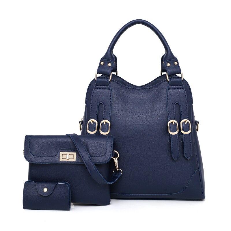 3Pcs PU Leather Tote Bag Female Shoulder Handbags Women Messenger Bag
