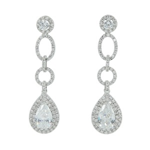 Image 2 - Full CZ Cubic Zirconia Drop Dangle Bridal Wedding Loops Earring for Women Jewelry CE10249