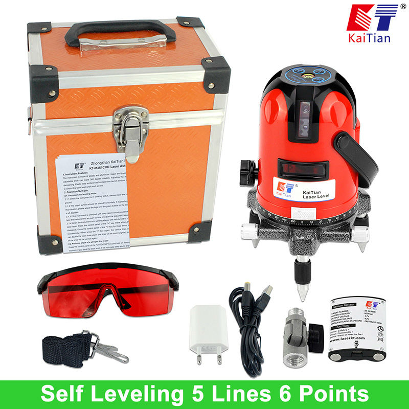 Kaitian Battery and 635nm Laser Level with 360 Rotary Tilt Slash Function / Outdoor 5 Lines Leveling Level   EU Plug Lazer Level