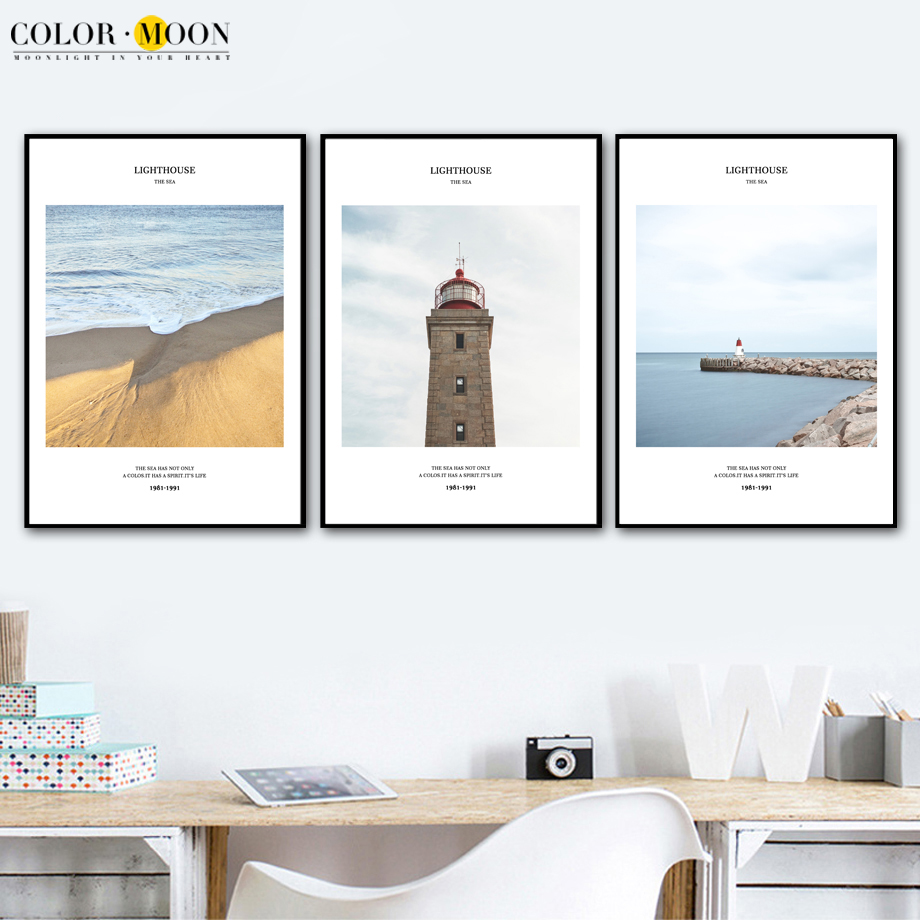 COLORMOON Beach Beacon Quotes Wall Art Canvas Painting Posters And Prints Nordic Poster Wall Pictures For Living Room Home Decor