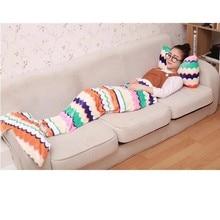 2016 Soft Mermaid Tail Fleece Blanket Lap Throw Bed Wrap Fin Warm Cocoon Costume Cobertor Kids Adult Sleeping Bag Dormir70*130cm