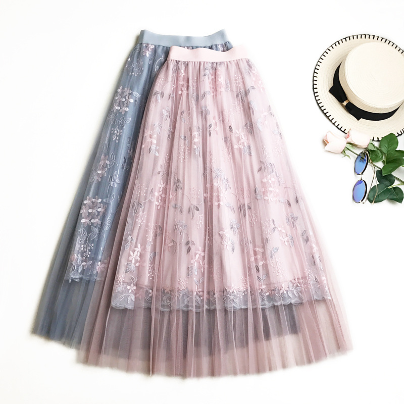 Long Mesh Skirt Pleated 2019 New Summer Sweet Fairy A-Line Skirts Floral Embroidery Tulle Midi Skirt Saias Faldas Jupe Femme