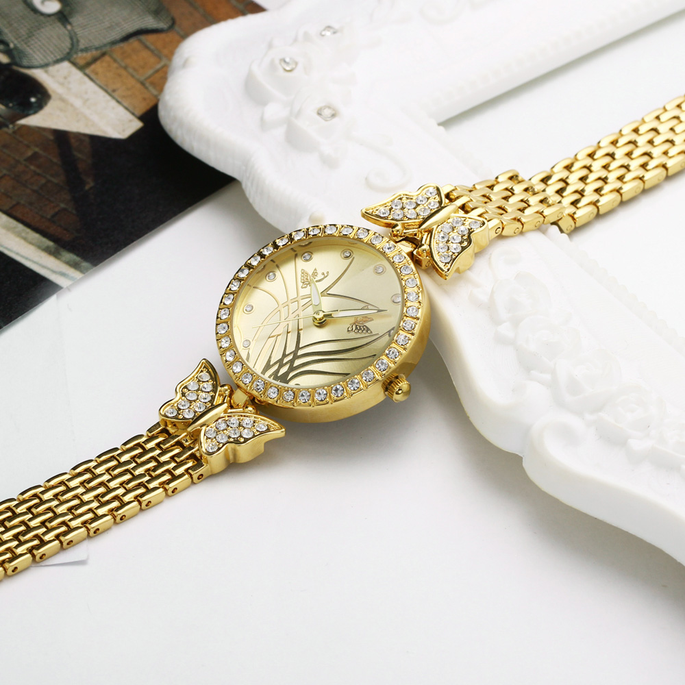 New arrival Elegant ladies Wrist Watch Pretty Butterfly Design Timepiece for Women Top Quality Crystal Case free shipping 5