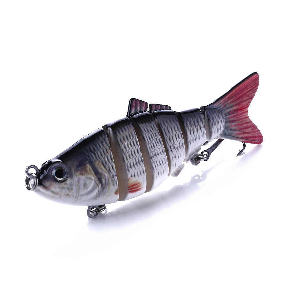 10 Cm Bagian Multi 6 Segmen Memancing Umpan Jointed Ikan Kecil Swimbait Crankbait Umpan Keras Buatan 3D Mata Wobblers Treble Hook