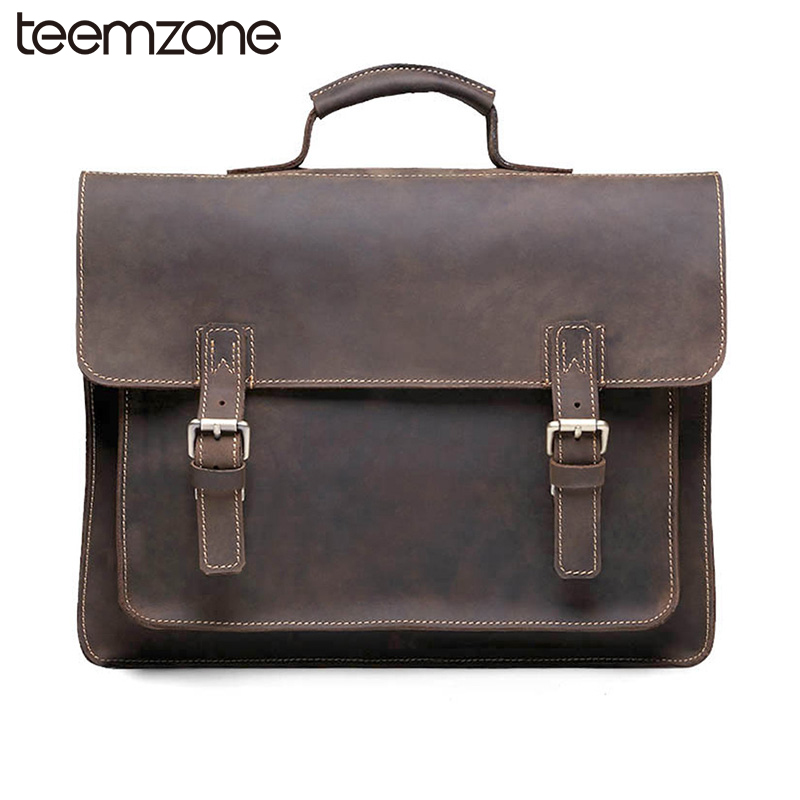 Здесь можно купить   ZLON New Style Men Crazy Horse Genuine Leather Vintage Aipper Single Laptop Briefcase Messenger Shoulder Attache Tote Bag T8884 Камера и Сумки