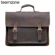 ZLON New Style Men Crazy Horse Genuine Leather Vintage Aipper Single Laptop Briefcase Messenger Shoulder Attache Tote Bag T8884