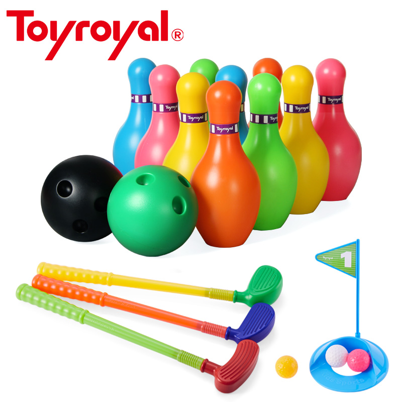 toyroyal rainbow baby bowl golf game kids indoor play plastic bowling set classic sports toys. Black Bedroom Furniture Sets. Home Design Ideas