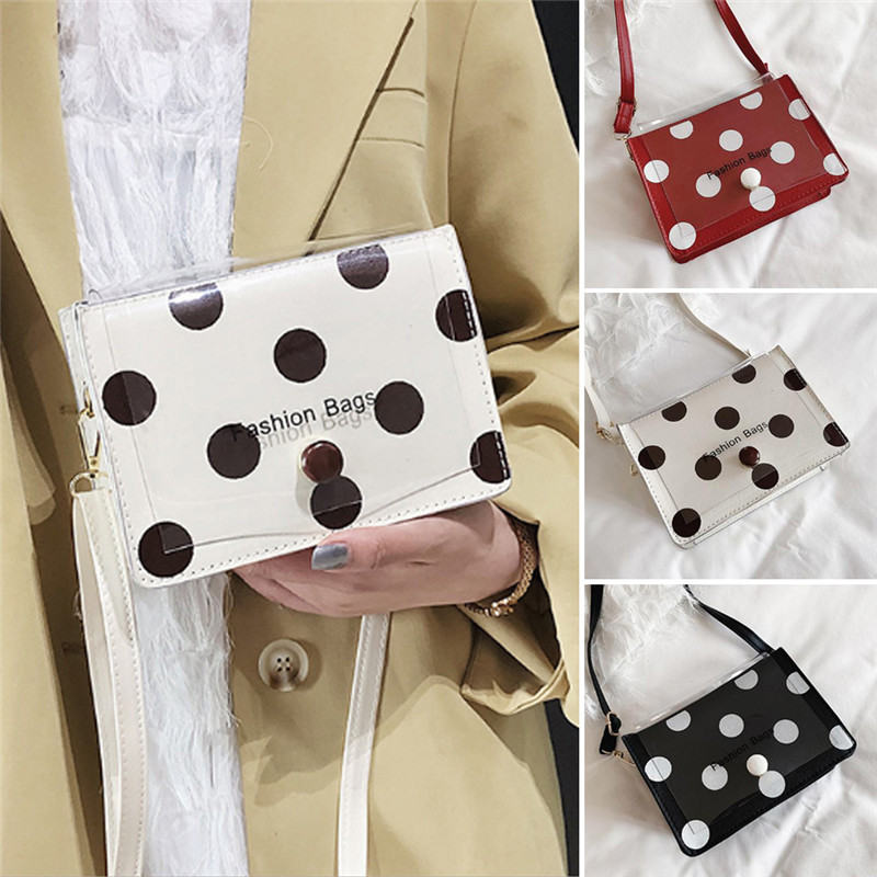 Womens Elegant Polka Dot Messenger Chain Evening Party PU Banquet Shoulder Bag