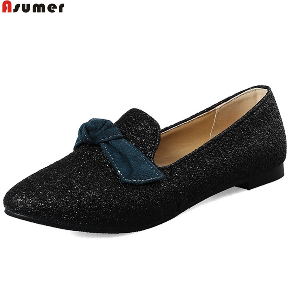ASUMER black red white fashion spring autumn flat shoes woman pointed toe shallow casual women flats bling butterfl knot women flats casual shoes 2017 summer sandals pointed toe fashion shallow rivet flower flat shoes woman loafers cool comfortable