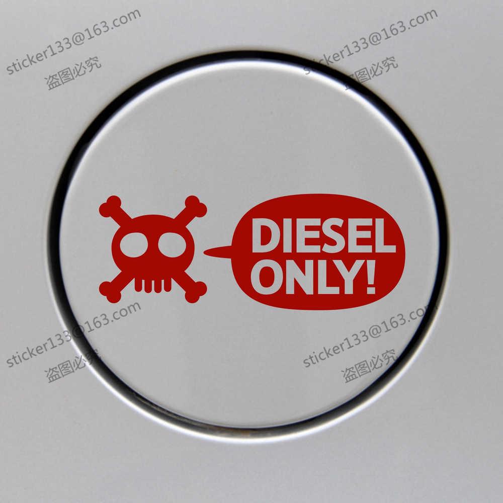 Diesel only skull fuel door cover cap gas tank decal sticker 12cm long