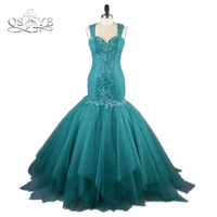 Real Photos Blue Mermaid Long Prom Dresses 2017 Sexy Transparent Back Lace Beaded Royal Train Formal Evening Party Gown