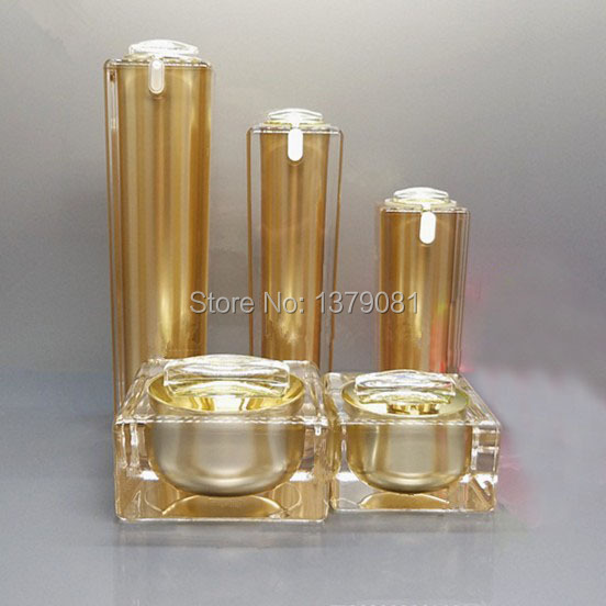 15ml,30ml 50ml,100ml Gold Acrylic Cream Jar Empty Cosmetic Bottle Container Jar Square Lotion Pump Bottle three 100ml