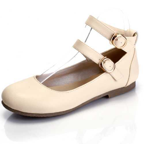 ФОТО Big size 32-43 Women Flats 2016 New Double Buckle Ankle Straps Round Toe Comfortable Insole Spring Autumn Shoes Casual Flats