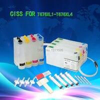 Tinta forma T676XL1-T676XL4 astillado de suministro de tinta sistema CISS sin tinta para mano de obra Pro WP-4020 WP-4030 WP-4040