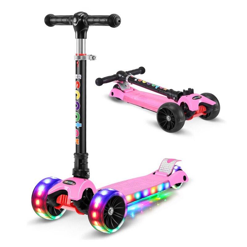 Per bambini kick scooter pieghevole In lega di Alluminio di skateboard per bambini Regolabile in Altezza Lampeggiante Luce Della Rotella Del Piede Hoverboard e Skate elettrici Giocattoli Regali - 5