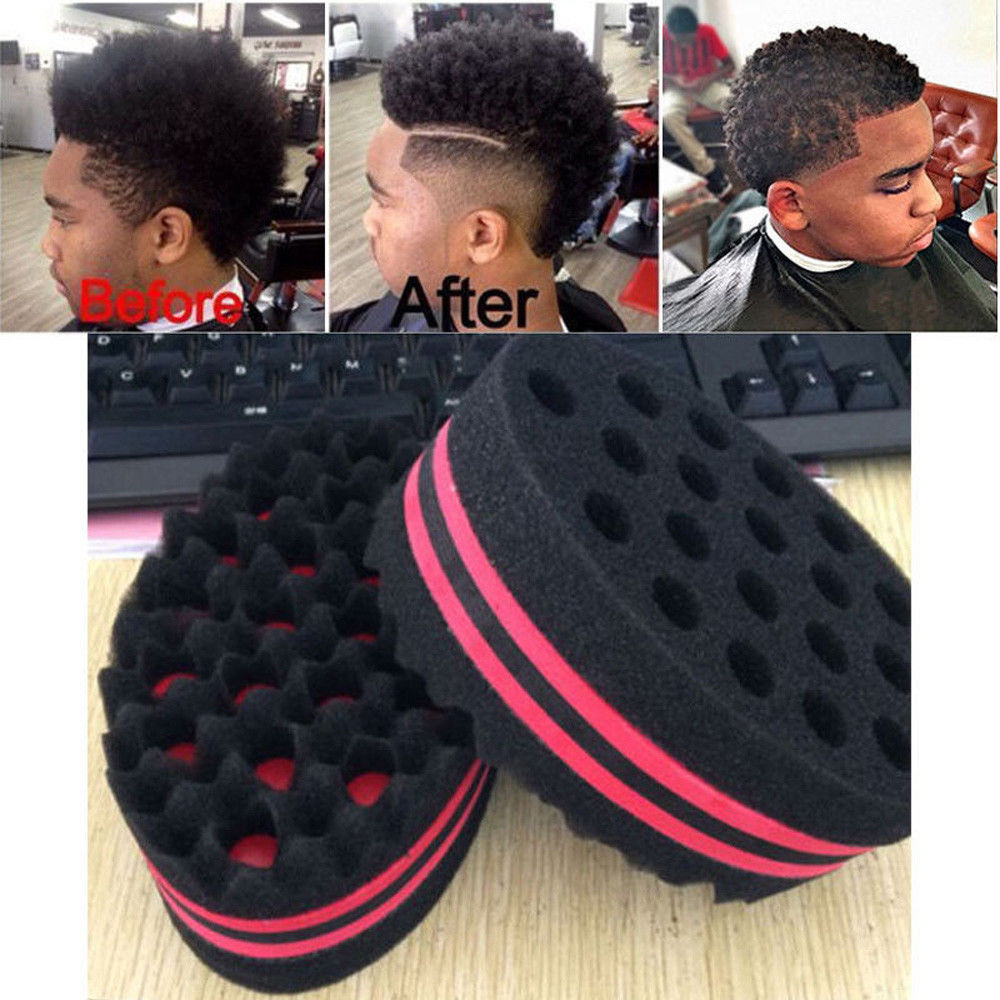 Home Appliances Double Sided Barber Hair Brush Sponge Dreads Locking Twist Coil Afro Curl Wave