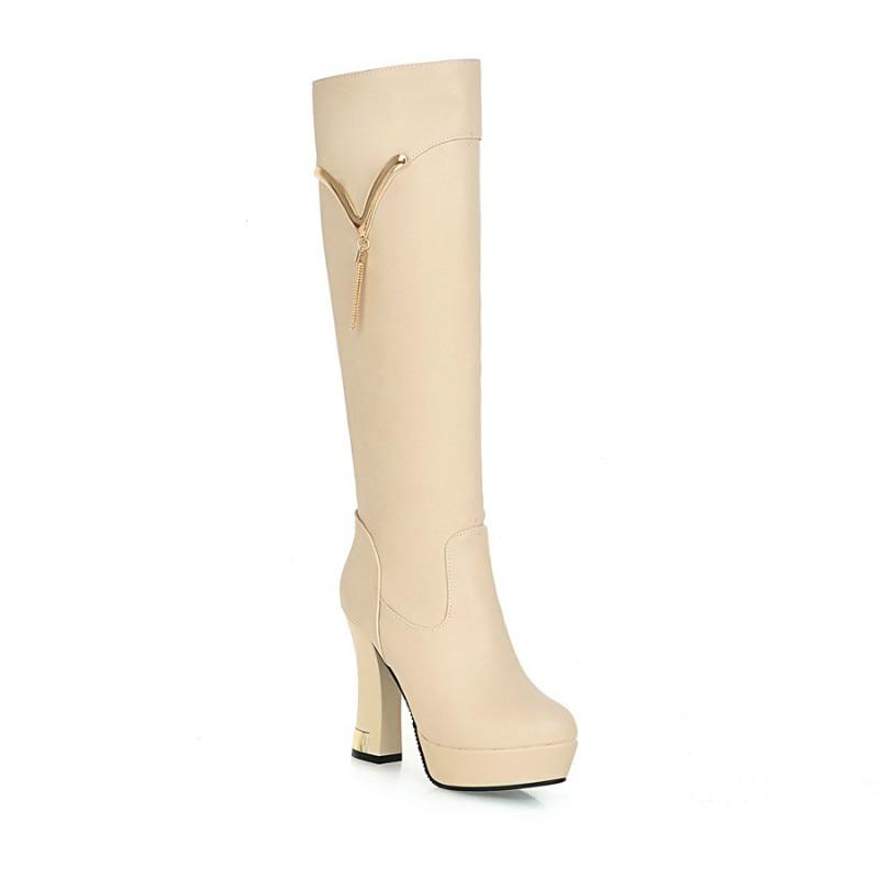 Otoño Apricot Tacón Tacones blanco Botas Las La Zapatos Altas De Mujeres Moda Invierno Los Grueso negro Rodilla Altos wqZPzY4xw