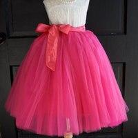 Hot Pink High Quality 7 Layers 65cm Tulle Skirt Fashion Tutu Skirts Womens Lolita Petticoat Saias rokken faldas