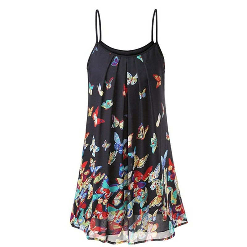 Women Floral Dress Spaghetti Strap 4 Color O Neck Sleeveless Top Dress Waist  Summer Fashion Print Beach Dress Mini Dress