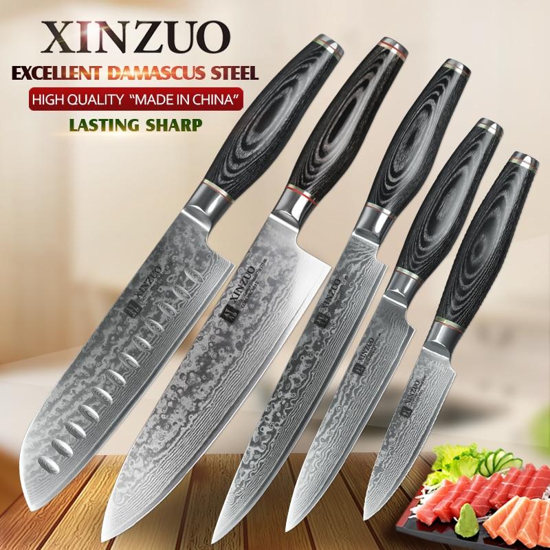 XINZUO 5 pcs kitchen knife <font><b>set</b></font> 73 layer Japanese VG10 Damascus steel kitchen knife cleaver chef utility knife pakka wood handle