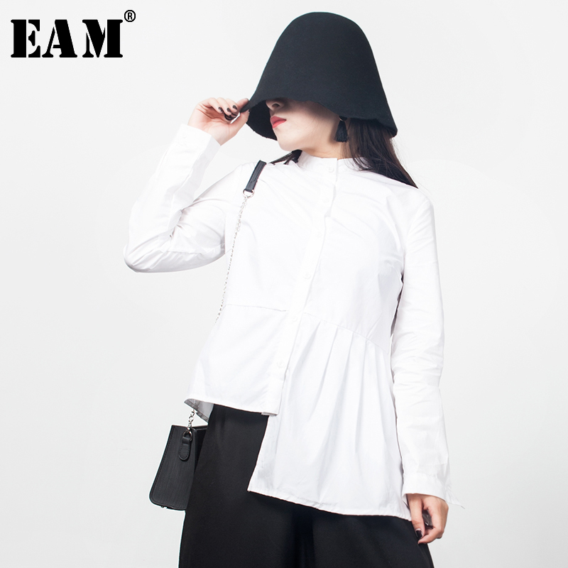 [EAM] 2019 Autumn Winter Stylish White Color Long Sleeve Stand Collar Single Breasted Pleated Irregular Shirt All Match JD551