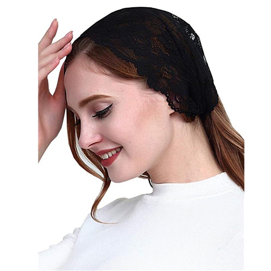 Mantilla Veil Mass Headband Kerchief Tie-style Head Covering Church Veil Catholic Chapel Voiles Dentelle Velas Negra Mantilla